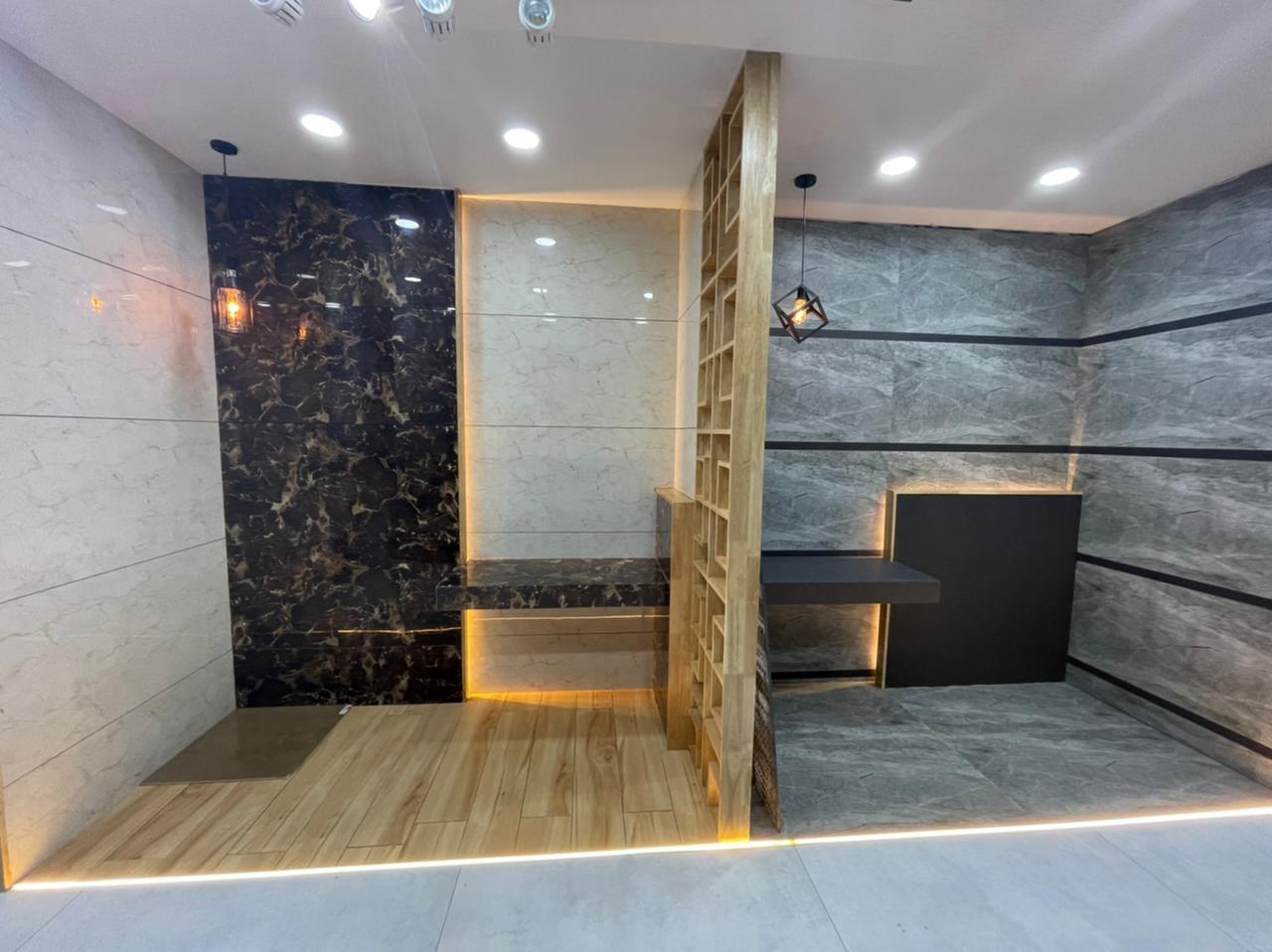 Cerajot Bathtoom Mockup Design image with Gray and Black Tiles